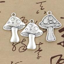 6 pçs encantos cogumelo 40x29mm bronze antigo prata cor chapeado pingentes fazendo diy artesanal tibetano bronze prata cor jóias