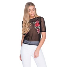 2017 Summer Sexy Mesh Tee Women T-shirts Short Sleeve See-Through O-neck Perspective Embroidery Floral Casual Women Tops Tee