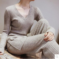 18 new women's cashmere suit sweater fashion wool suit wide leg pants V neck sweater casual pants two piece