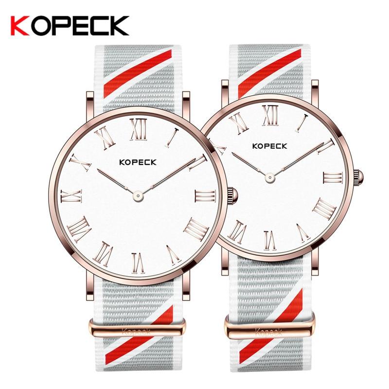 f282a71f3425 Kopeck marca de lujo amante par reloj correa de Nylon impermeable hombres  mujeres parejas amantes relojes