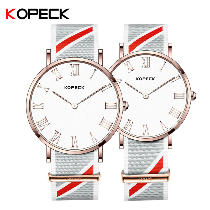 Kopeck Luxury Brand Lover Pair Watch Waterproof Nylon Strap Men Women Couples Lovers Watches Set Wristwatches Relogio Feminino keep in touch couple watches for lovers luminous luxury quartz men and women lover watch fashion calendar dress wristwatches