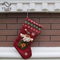 TTLIFE 2016 Happy New Year Christmas Stockings Hanging Sack Sock Gift Filler Cartoon Santa Claus Snowman