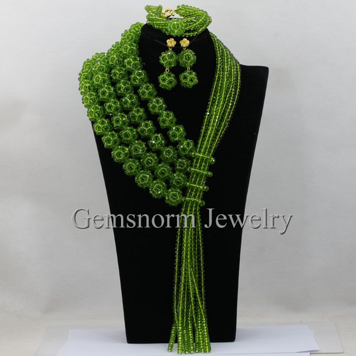 Olive Green African Crystal Beads Necklace Set Handmade Balls Full Chunky Nigerian Necklace Jewelry Set Free Shipping WA371Olive Green African Crystal Beads Necklace Set Handmade Balls Full Chunky Nigerian Necklace Jewelry Set Free Shipping WA371