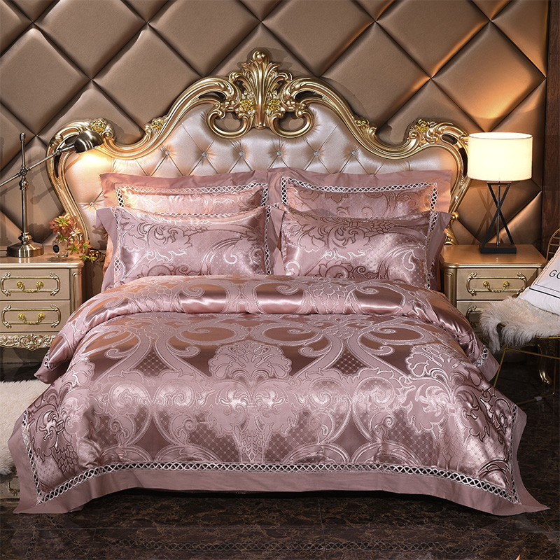 Silver golden queen king size bedding sets Luxury silk satin bed set bed sheet set bed
