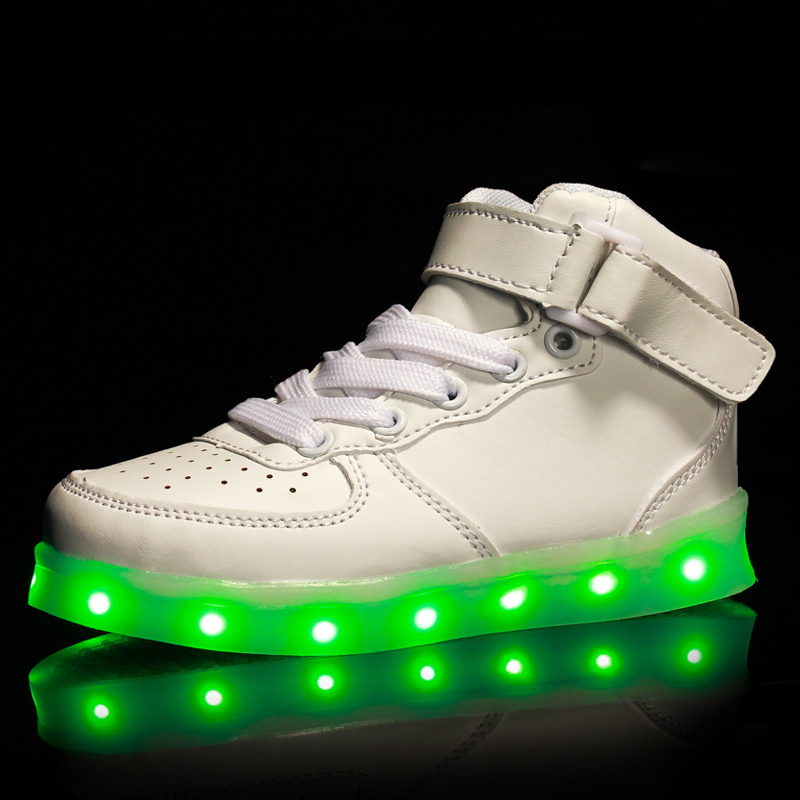 TUTUYU LED USB Charging Shoes Basket Led High Top Children Shoes With Light Up Kids Casual Boys Girls Luminous Glowing Sneakers