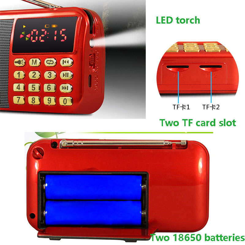 Two TF Card Slot Portable USB Speaker With Rechargeable 18650 Battery