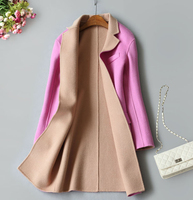 specials double sided 100%wool fabrics hand made women's autumn winter coat mid long suit collar 2buttons S 3XL