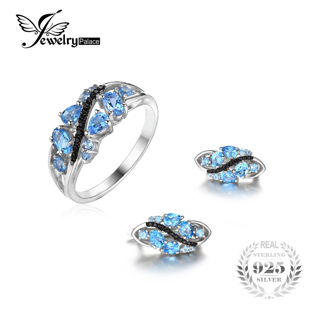 Jewelrypalace Fashion 3ct Natural Black Spinel Swiss Blue Topaz Ring Clip Earrings  Jewelry Sets 925 Sterling