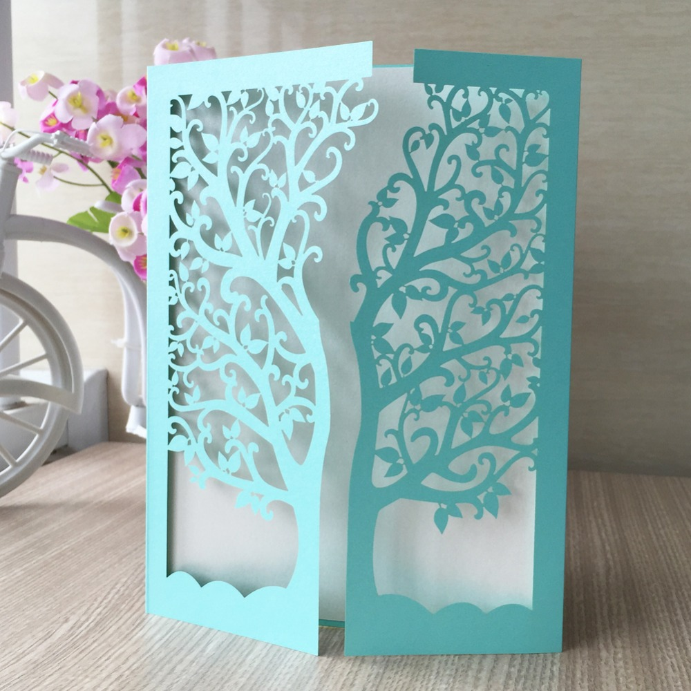 Invitation Card For Wedding App 30pcs/lot Laser Cut Tree Inviting Card Paper Party Event