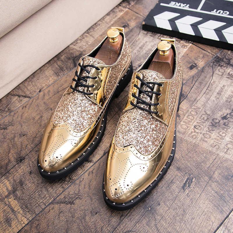 Mens Dress Shoes Golden glitter Brogue