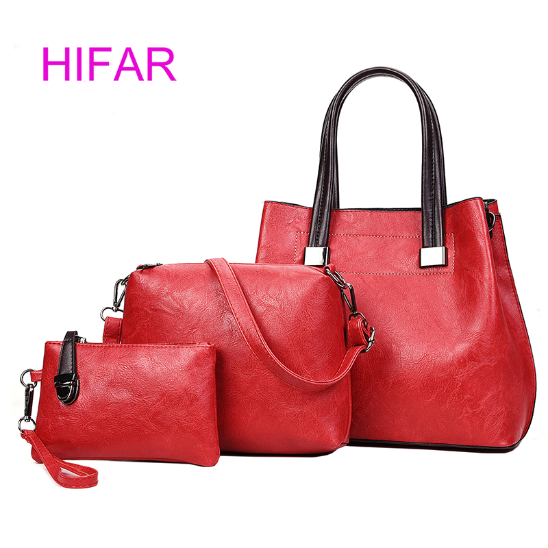 HIFAR Fashion PU Leather Top-handle Women Handbag Solid Ladies Lether Shoulder Bag Casual Large Capacity Tote Crossbody Bags 3 S ...