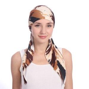 Image 2 - Мусульманские женщины хлопок Мягкий тюрбан с принтом шляпа раковая шапочка при химиотерапии капот шапки предварительно связанный шарф головной убор аксессуары для волос