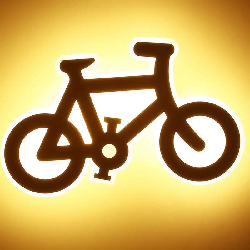 The bicycle lamp lamp corridor bedroom bedside lamp creative car shape children's personality acrylic wall  cl FG119