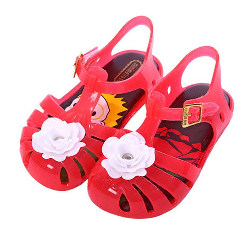 Girls Sandals 2018 New Rose Flower Style Baby Shoes Jelly Print Insole PVS Shoe 4 Color Choices Size24-29