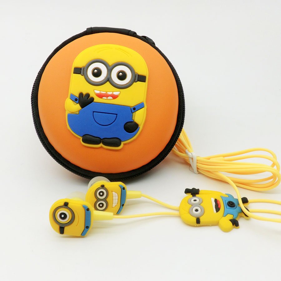 2016 New Despicable Me Minions Cartoon Earphone In-ear Wired 3.5 Mm Headset  Earbuds For MP3 MP4 Mobile Phone Packing Box
