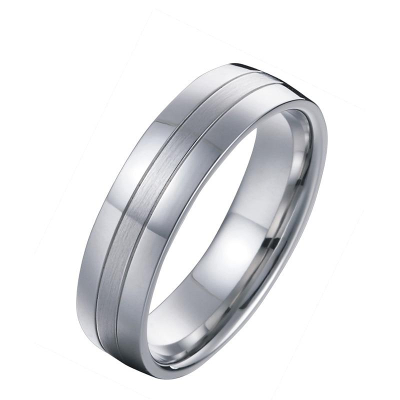 Titanium nakit poročni pas moški obletnica modni prstan belo zlato - Modni nakit - Fotografija 3