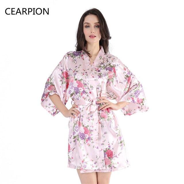 CEARPION Bridesmaid Robe Kimono Night Gown Bride Sleepwear Print Flower  Nightwear Wedding Sexy Lingerie Plus Size Party Dressing bbe864fa86d0