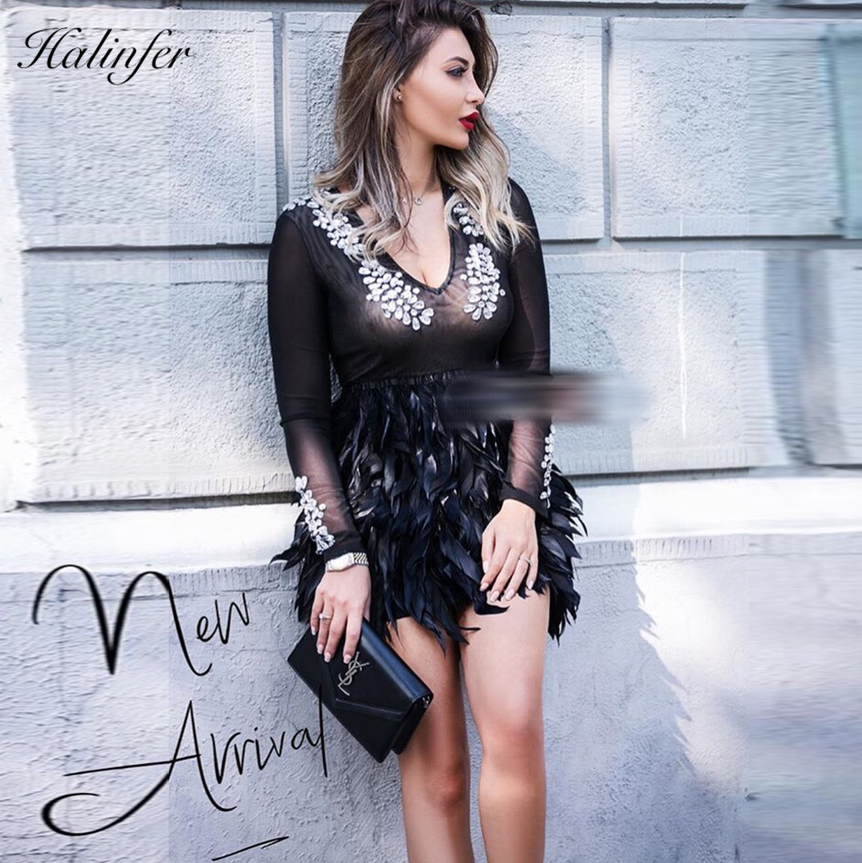 Halinfer Venda Vestidos Bodycon Rayón Plumas En Nuevo Otoño Mujeres V Celebridad Cuello De Sexy Las Fiesta 2018 Con Vestido rRWZ8rU