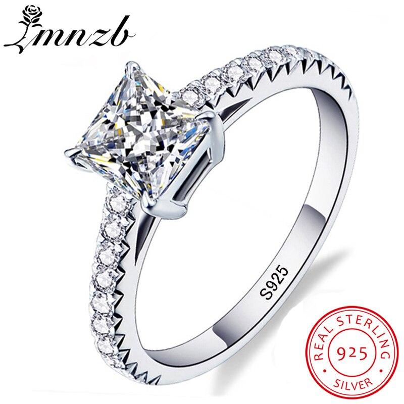 LMNZB Victoria Wieck princesse coupe marque bijoux 925 bague en argent Sterling clair 5A CZ Zircon mariage mariée femmes anneaux LR188