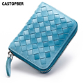 Fashion Woman Short Wallet Leather Genuine Sheepskin Weave Pattern Card Holders Credit ID Business Case Coin Purse Wallets Bag