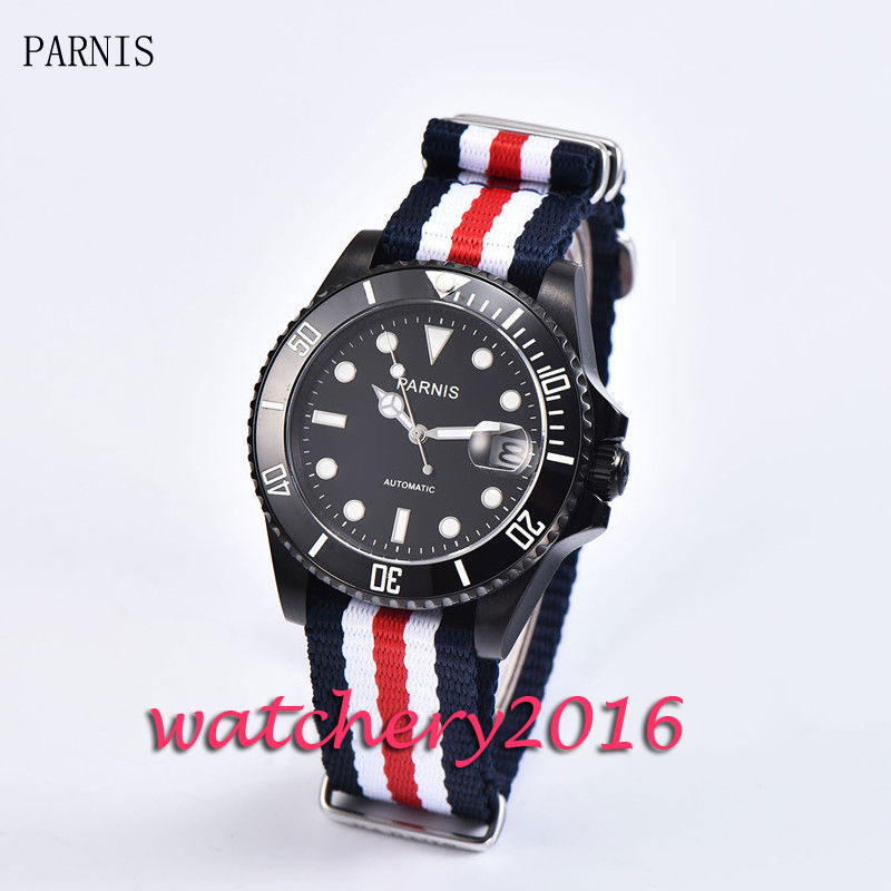 New 40mm Parnis black dial black PVD case ceramic bezel white numbers sapphire glass miyota Automatic
