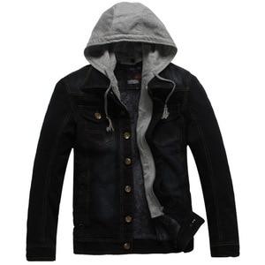 Image 3 - Winter Thick Fleece Denim Jacket Men Jeans Coat Cargo Jackets Streetwear Casual Vintage Biker Coat for Men Blue S117