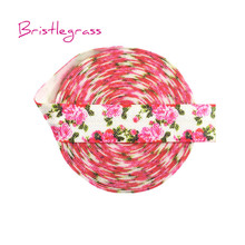 BRISTLEGRASS 5 Yard 5/8 15mm Rose Flower Print Shiny Fold Over Elastics FOE Spandex Satin Bands Headband Tutu Dress Sewing Trim