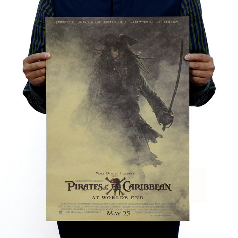 Free shipping,Pirates of the Caribbean 3/jack sparrow/movie/kraft paper/bar poster/Retro Poster/decorative painting 51x35.5cm