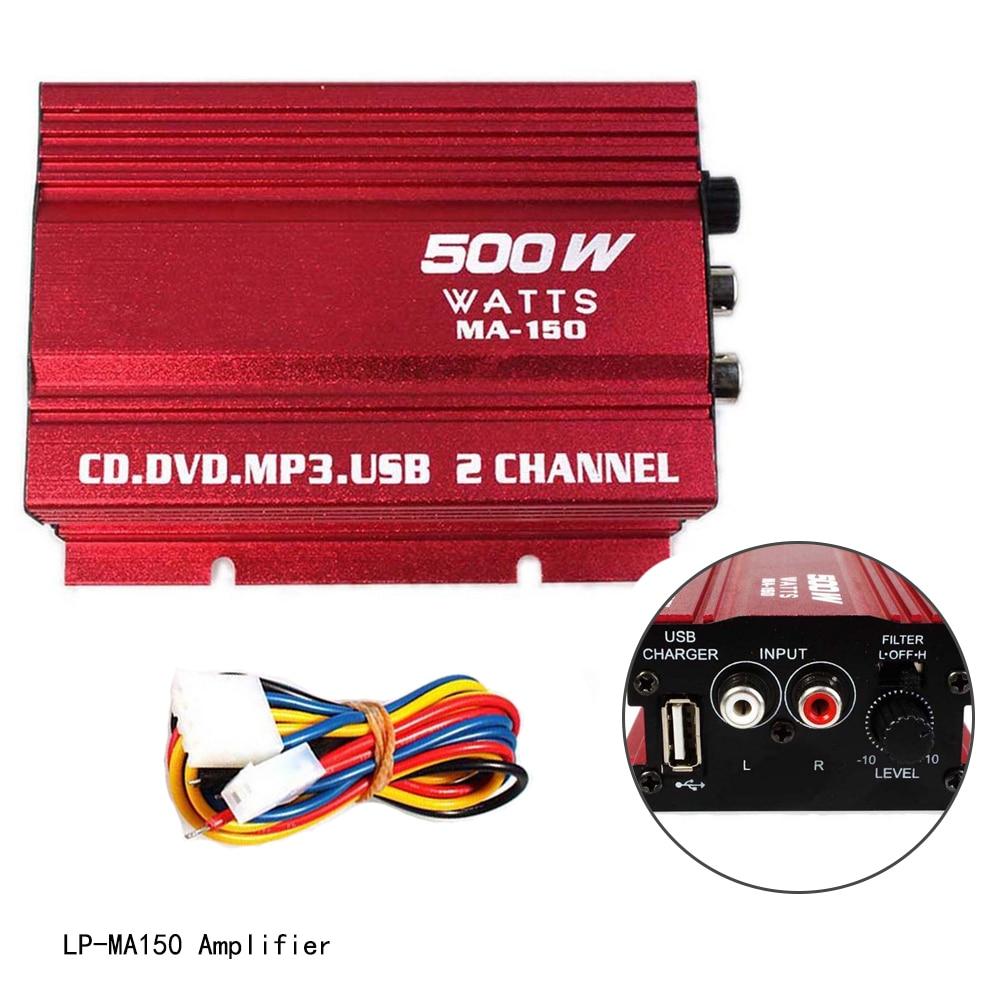 2 Channel 20W*2 Hi-Fi Digital Power Amplifier 12V Stereo Audio CD DVD MP3 USB Car Amplifier For Motorcycle & Car