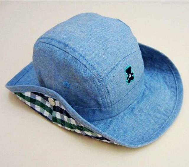 Baby Cowboy Hat Kids Blue Jean Sun Helmet Boy Summer Caps With Chin Strap  Kids Bucket Hat 0-7Y 97fa8ba0a82