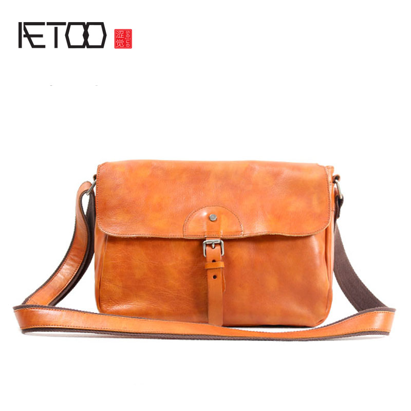 AETOO Handmade leather retro art male bag shoulder bag male casual first layer leather messenger bag Japanese clamshell men's ba aetoo spring and summer new leather handmade handmade first layer of planted tanned leather retro bag backpack bag