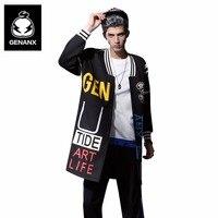 GENANX модный бренд Бейсбол Тренч Для мужчин свободные печати пальто мужские зимние длинные Стиль пальто Размеры M XXL