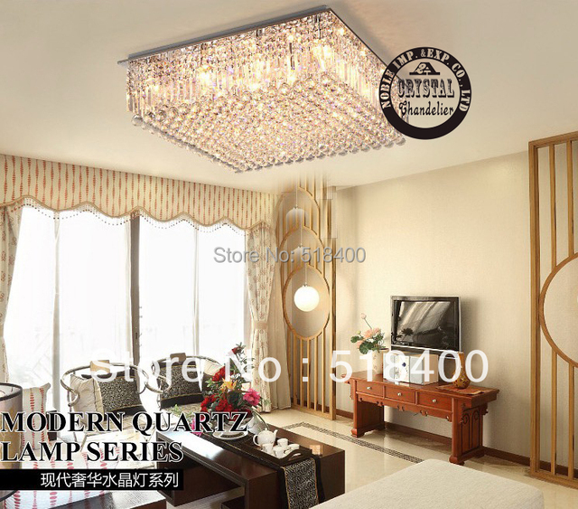 new name brand modern luxury bedroom drawing room dining room hall crystal square ceiling chandelier lamp - Large Living Room Chandeliers