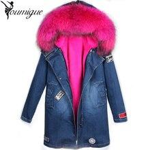 Winter Coat Women Denim Jacket Thick Parkas Real Raccoon Fur Collar Hooded Coats Fashion Long Coat Jackets female Real Fur parka