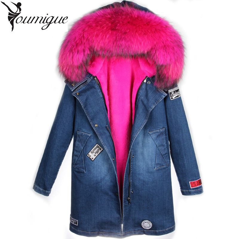 Подробнее о YOUMIGUE New Women Winter denim Jacket Coats Thick Parkas Real Raccoon Fur Collar Hooded Outwear fur coat female real fur parka winter jacket men coats thick warm casual fur collar winter windproof hooded outwear men outwear parkas brand new