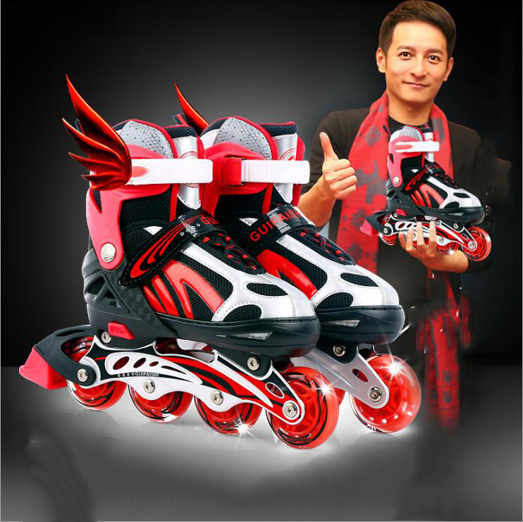 Full Flash Inline Skates Roller Shoes Adjustable Roller Skates Shoes with Cotton Fabric for children and adult Size Adjustable pro quality roller skates shoes cotton fabric full set adult breathable roller skate skating shoes with shinning wheels