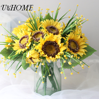 Artificial Babysbreath Yellow Silk Fake Sunflower Flowers High Quality For Home Wedding Garden Party Decoration Gift