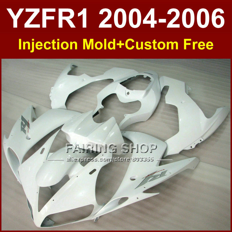 Custom free ABS Injection chinese fairings kits for YAMAHA R1 2004 2005 2006 YZFR1 YZF1000 YZF 04 05 06 full white fairing parts