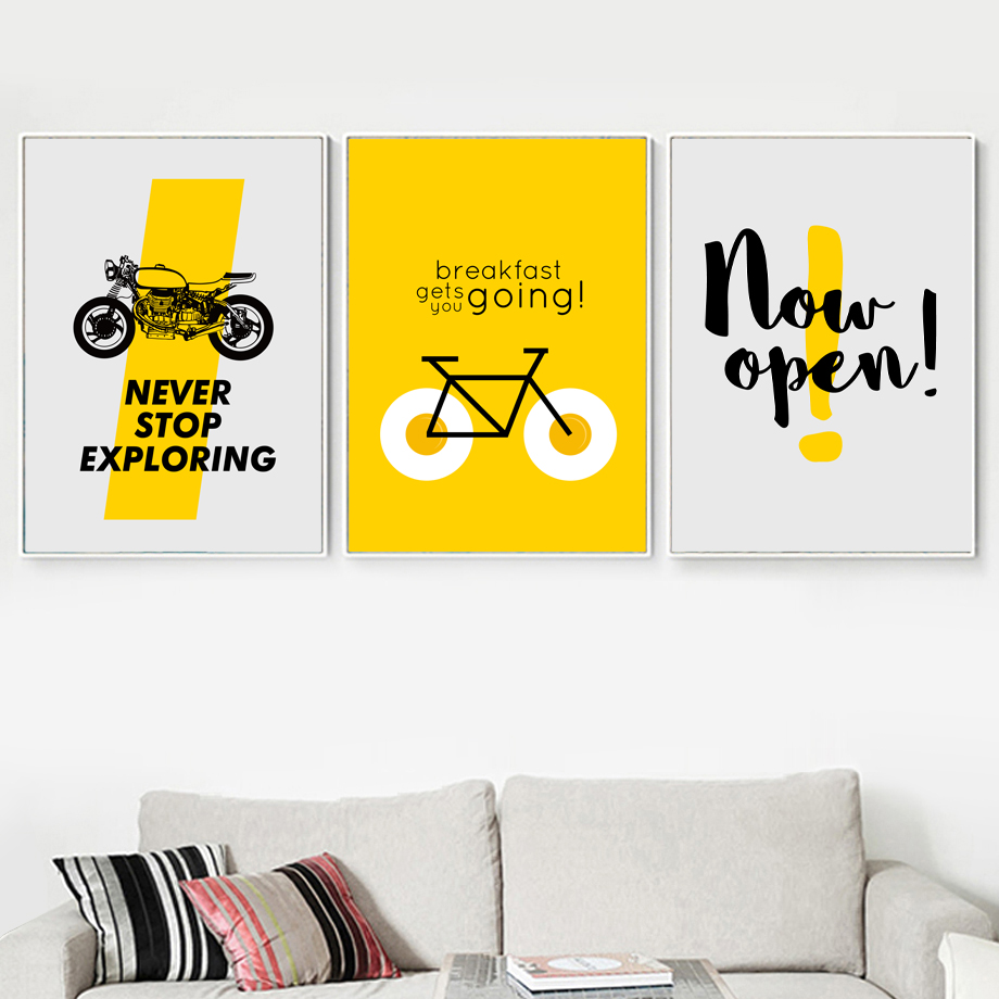 Motorbike Bike Quotes Wall Art Canvas Painting Nordic Posters And Prints Scandinavian Wall Pictures For Living Room Home Decor in Painting Calligraphy from Home Garden