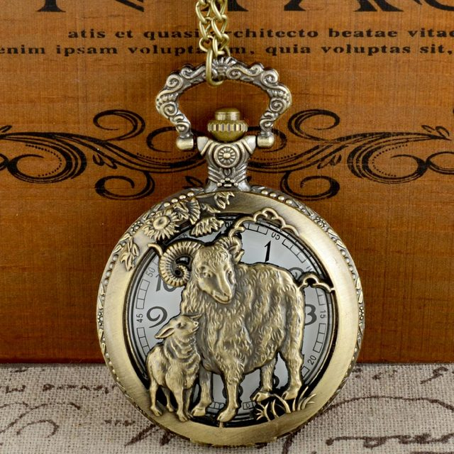 Vintage Bronze Sheep Graphic Quartz Pocket Watch with Chain Retro Men Women Clas
