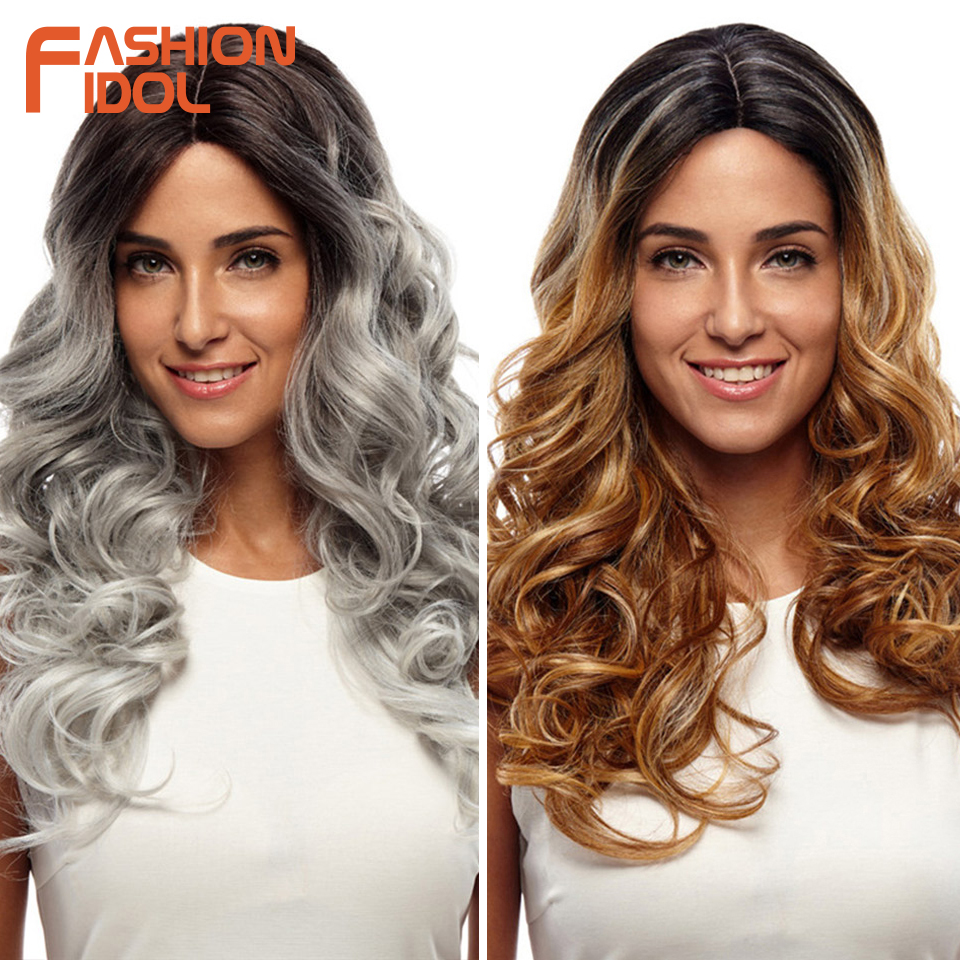 FASHION IDOL 24 Inch Hair Synthetic Wigs For Black Women Lace Front Wig Ombre Silver Gray Cosplay Wig Soft Heat Resistant Hair
