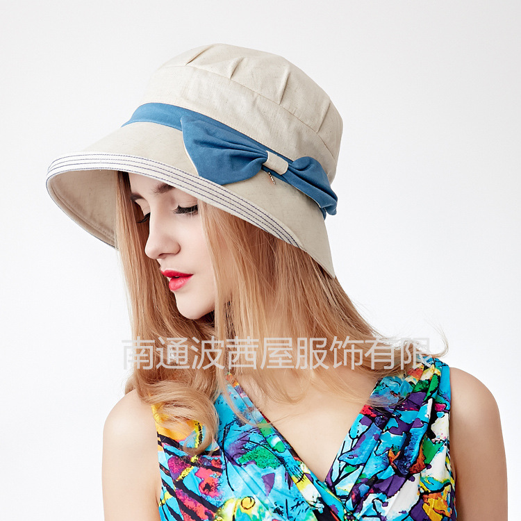 541aaf61444af 2017 fashion women solid bow flower caps summer cotton romantic sun hats-in Sun  Hats from Women s Clothing   Accessories