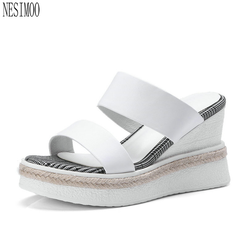 NESIMOO 2018 Fashion Women Sandals Shoes Woman Genuine Leather Slingback  Wedge High Heel Ladies Wedding Shoes Size 34-42 30f461253c14