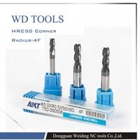 3pcs 4 flute 8.0XR1.0X60L Carbide Mills drill bit Corner Radius CNC router bits