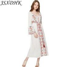 JSXDHK Ethnic Style Summer Maxi 2018 Vintage Long Flare Sleeve Tassel Beach  Dress 85af36dfb31f