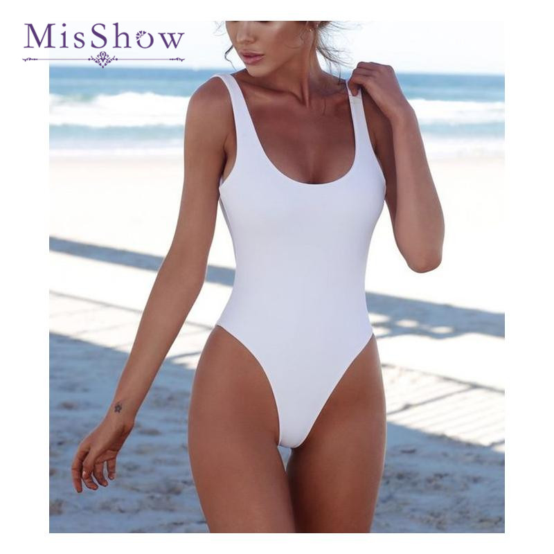 2018 MisShow Solid Color One Piece Swimsuit Sexy Bodycon U Back Swimwear Push Up Bathingsuit Summer Women Beachwear ...