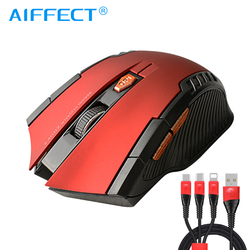AIFFECT 2.4GHz Wireless Optical Mouse Gamer New Game Wireless Mice With USB Receiver Mause For PC Gaming Laptops
