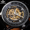 SEWOR Fashion Luxury Brand Gear Case Skeleton Watches Men Automatic Mechanical Watch Leather Strap Clock Male Self Wind Watch