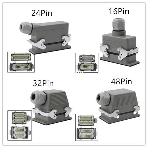 16A HE HE-6 10 16 24 32 48 Pin Heavy Duty Connector,Aviation  Plug Socket Rectangle