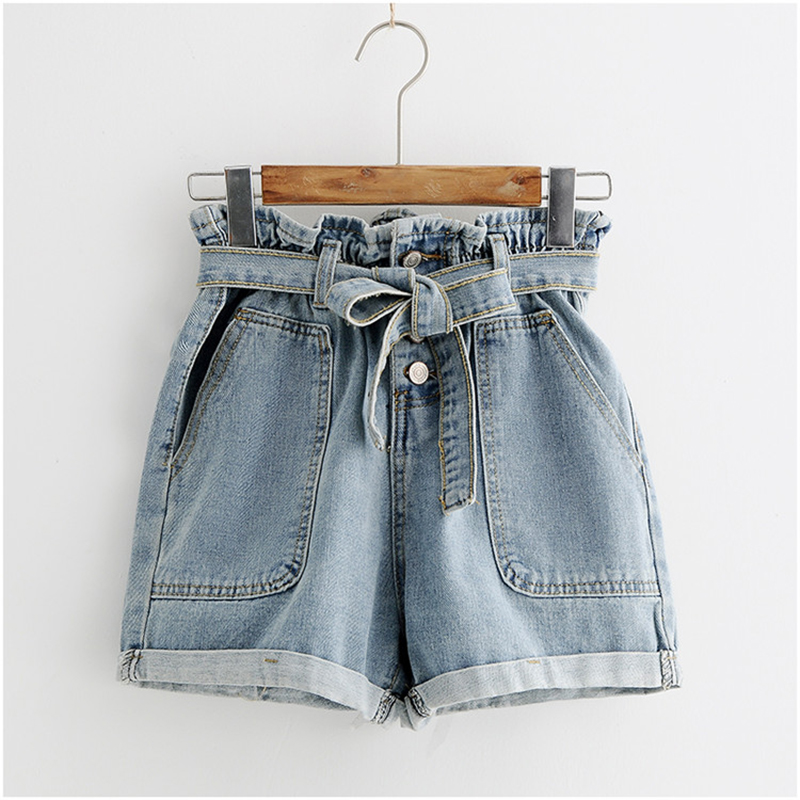 Laamei Tie Waist Denim Shorts 2020 New Design Shorts Summer High Waist Button Fly Plain Casual Hot Sale Shorts Blue